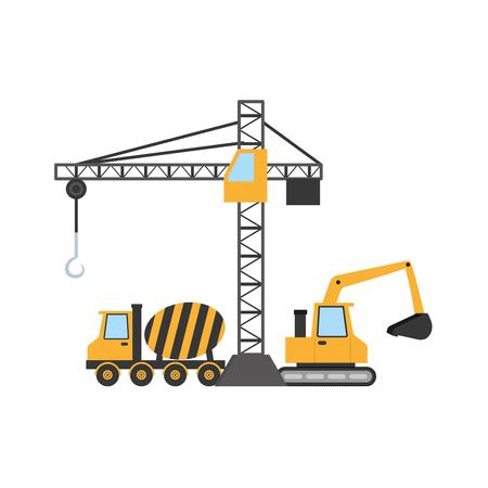Grue de construction bulldozer bétonnière camion machines vector illustration Vecteurs