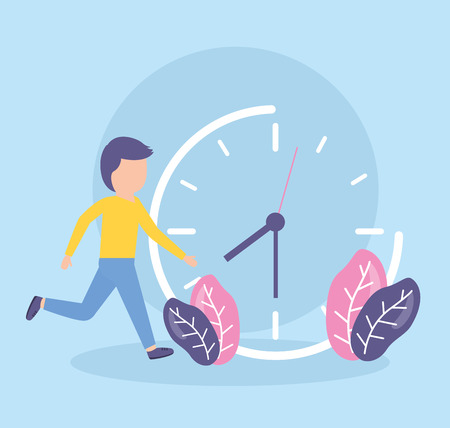 businessman clock time work design vector illustration