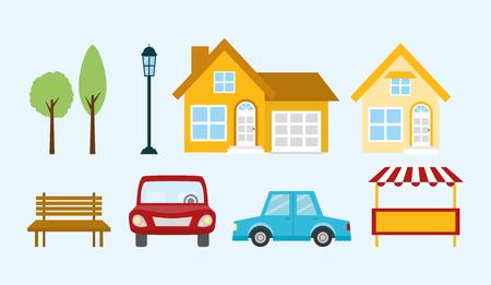 set home car tree bench vector illustration Stock Illustratie