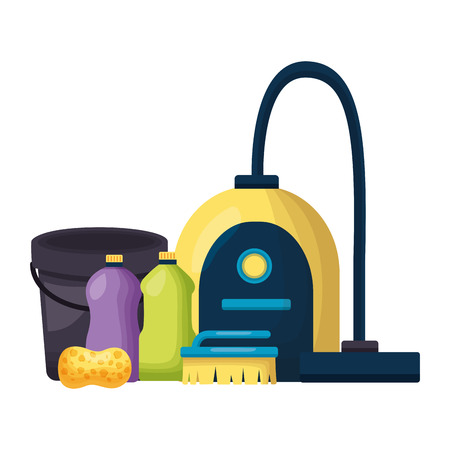 vacuum bucket brush sponge spring cleaning tools vector illustration