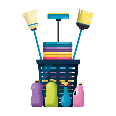 laundry broom mop products spring cleaning tools vector illustration