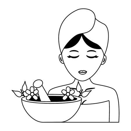woman with towel bowl flowers aroma spa vector illustration