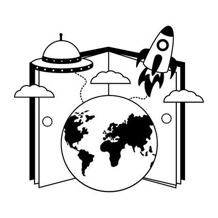 book world rocket spaceship travel vector illustration