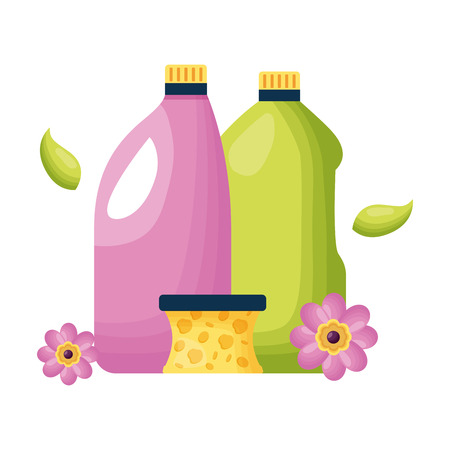 botltes sponge spring cleaning tools vector illustration Standard-Bild - 122920098