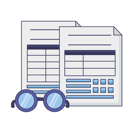 tax payment documents paper eyeglasses vector illustration
