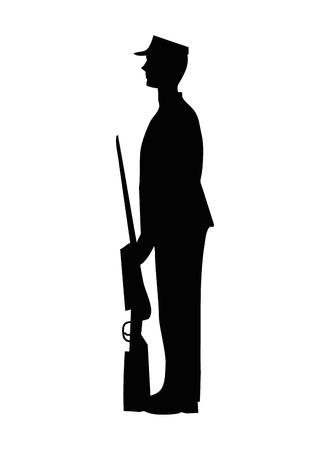 military with weapon silhouette vector illustration design