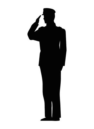 Diseño del ejemplo del vector del icono de la silueta del hombre militar