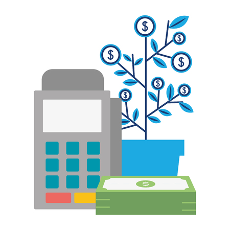 pos terminal tree growth money online payment vector illustration 向量圖像