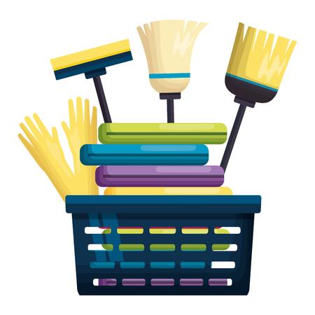 laundry basket gloves broom mop spring cleaning tools vector illustration Stockfoto - 122872601