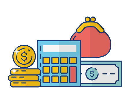 calculator purse money currency online payment vector illustration Stockfoto - 122872621