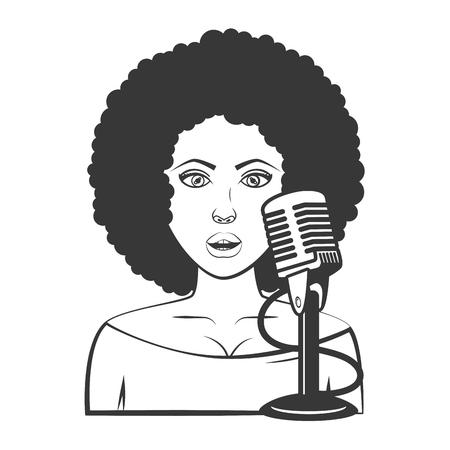 singer woman microphone karaoke music vector illustration
