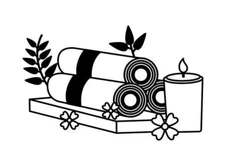 towels candle flowers spa treatment therapy vector illustration Foto de archivo - 122872624