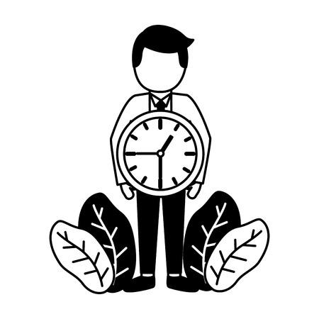 businessmen clock time on white background Illustration