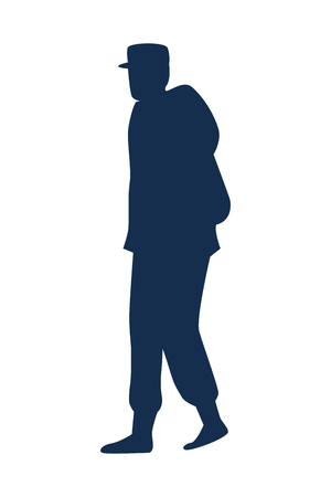 military man walking silhouette vector illustration design