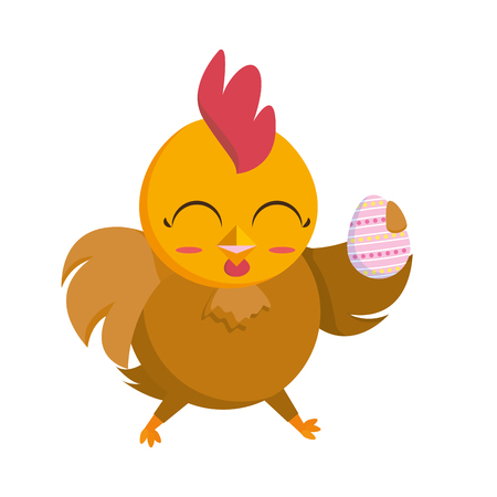 beautiful hen with egg painted easter character vector illustration design