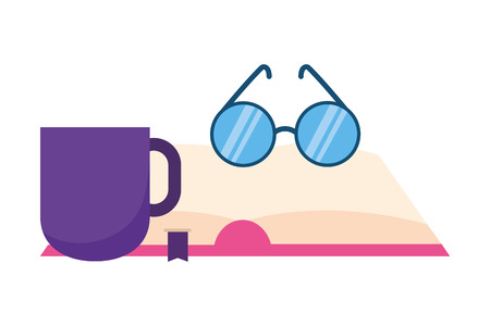 open book eyeglasses and coffee vector illustration