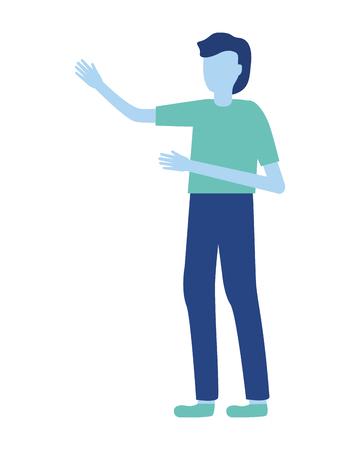 man gesturing hands on white background vector illustration