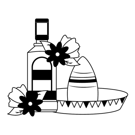 mexican hat traditional tequila hat flowers vector illustration 写真素材 - 122872682