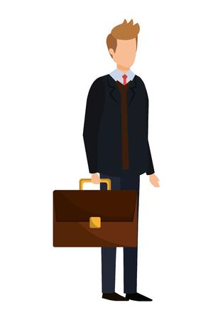 elegant businessman with portfolio vector illustration design Illustration