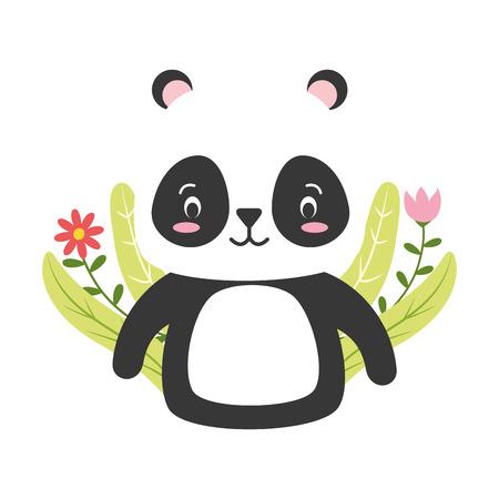cute panda cartoon flower leaves vector illustration design Ilustracja