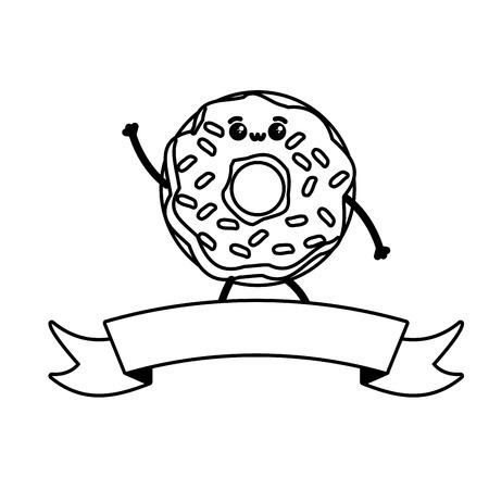 Kawaii Donut Fast-Food-Cartoon-Vektor-Illustration Vektorgrafik