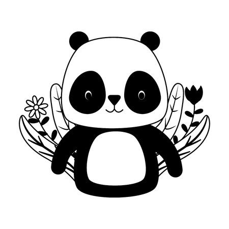 Panda mignon dessin animé fleur laisse vector illustration design
