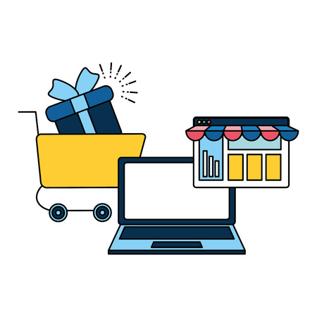 laptop online shopping cart gift website vector illustration