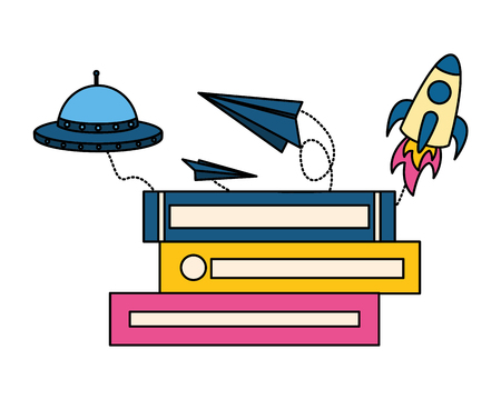 stack of books with rocket isolated icon vector illustration design 向量圖像
