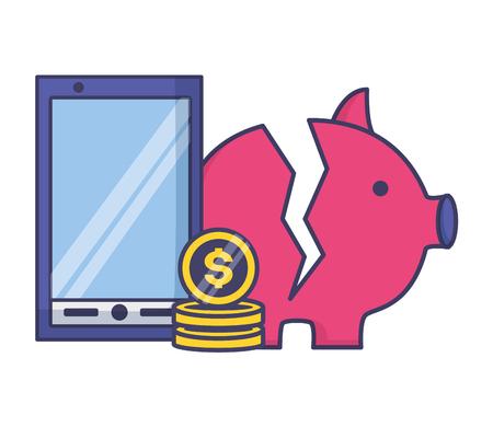 broken piggy bank cellphone money tax payment vector illustration