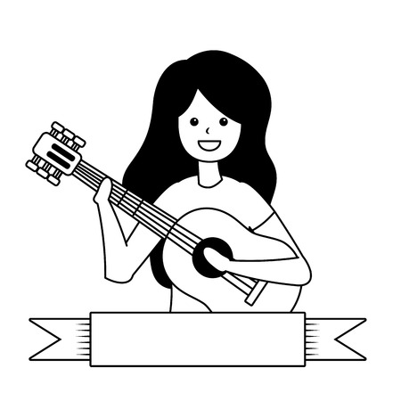 woman playing guitar - my hobby vector illustration Ilustrace