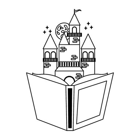 textbook castle fantasy world book day vector illustration