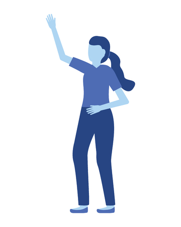 woman gesturing hands on white background vector illustration Foto de archivo - 122872774