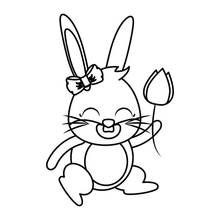 beautiful rabbit with rose flower easter character vector illustration design