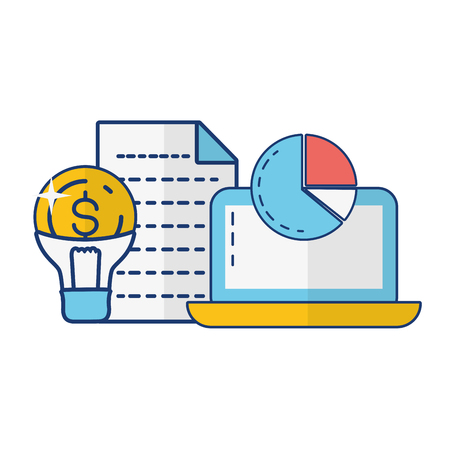 laptop bulb money report online payment vector illustration Иллюстрация