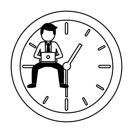 businessman laptop clock time work vector illustration Stock Vector - 122872798