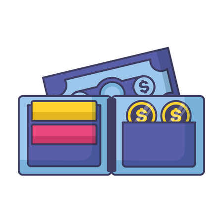 wallet banknote coins tax payment vector illustration Stock Illustratie