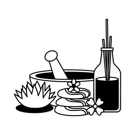 Schüssel Aromatherapie-Sticks Steine Blumen Spa-Behandlung Therapie-Vektor-Illustration Vektorgrafik