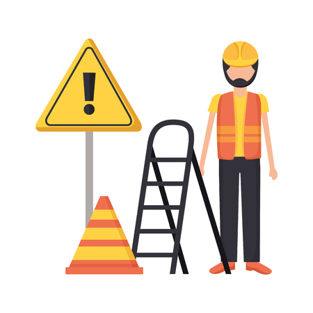 workers construction bricks stairs sign vector illustration  イラスト・ベクター素材