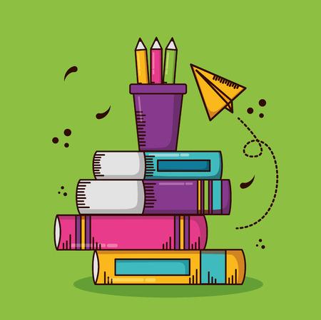 books paper plane school teachers day vector illustration design Foto de archivo - 122872826