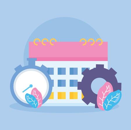clock time calendar gear design vector illustration