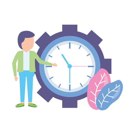businessmen clock time on white background Illustration