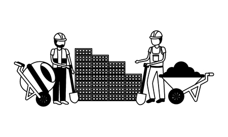 construction workers with wheelbarrow and mixer equipment vector illustration  イラスト・ベクター素材