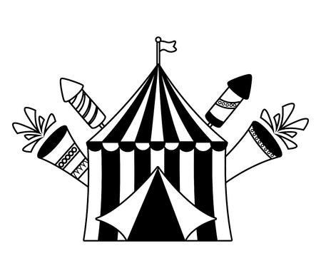 carnival tent fireworks fsetive vector illustration design Çizim