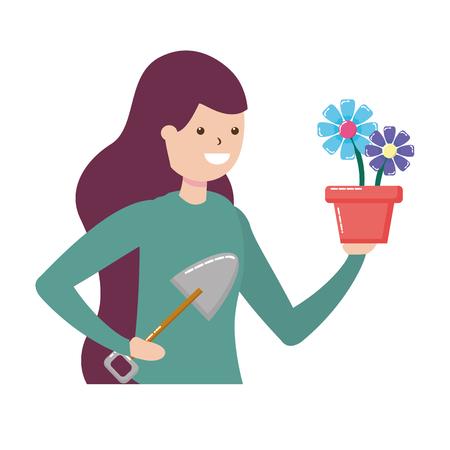 Femme pelle jardinage du sol hobby vector illustration