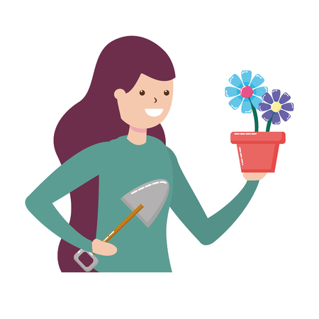 woman shovel soil gardening hobby vector illustration Stockfoto - 122872873