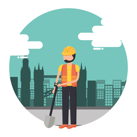 worker construction tool city background vector illustration Stock Illustratie