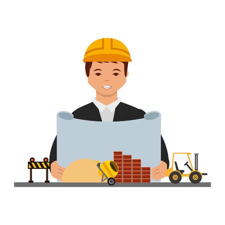 Hombre arquitecto con ilustración de vector de equipo de maquinaria de construcción de planos