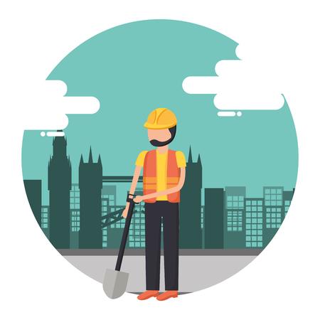 worker construction tool city background vector illustration Stockfoto - 122872902