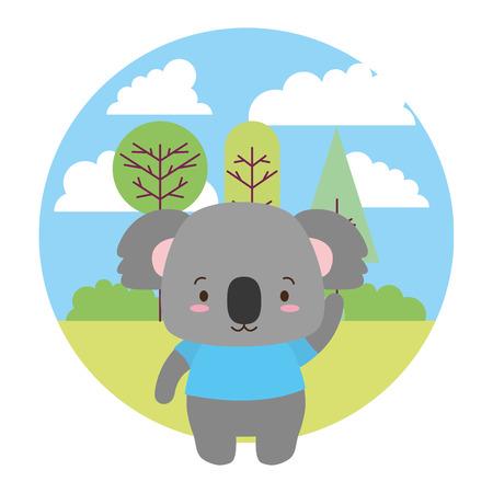 cute koala cartoon landscape vector illustration design