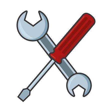 crossed screwdriver and spanner tools vector illustration Illustration
